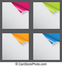 papiery, z, różny, róg, i, miejsce, dla, twój, text., wektor, ilustracja