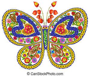 papillon, été, fleurs, amour