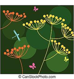 papillon, -, 1, grüner hintergrund, blumen