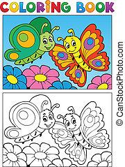 papillon, 1, thème, livre coloration