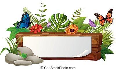 papillon, beaucoup, signe bois