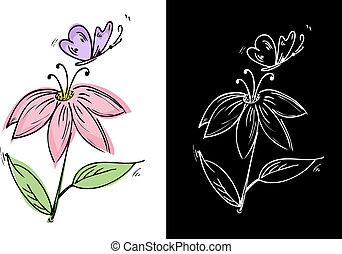 papillon, blume, zeichnung