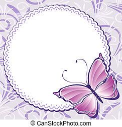 papillon, cadre, vendange, rose