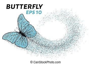 papillon, cercles, plus petit, illustration, particles., vecteur, butterfly.