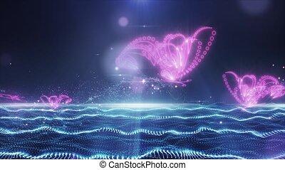 papillon, charmant, résumé, voler, champ, blue-pink