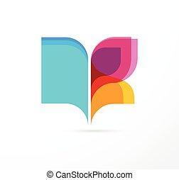 papillon, concept, coloré, -, livre, education, ouvert, icône