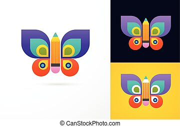 papillon, crayon, -, education, apprentissage, icône