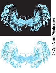 papillon, curvy, lignes bleu