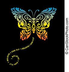 papillon, décoration, ornement