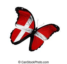 papillon, danois, voler, isolé, drapeau, fond, blanc