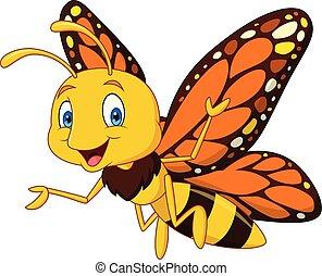 papillon, dessin animé, heureux