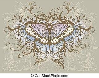papillon, drawing., vecteur, main