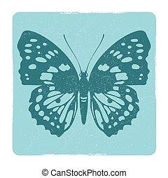 papillon, emblème, vecteur, silhouette, grunge