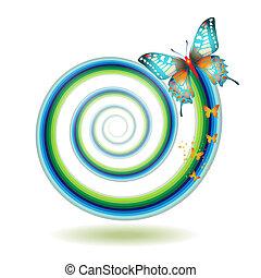 papillon, en mouvement, spirale