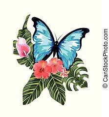 papillon, exotique, feuilles, fleurs, exotique