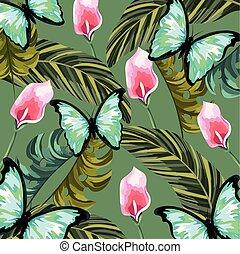 papillon, exotique, feuilles, fleurs, fond