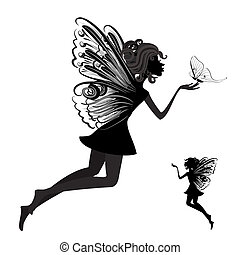 papillon, fee, silhouette