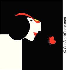 papillon, femme, élégant