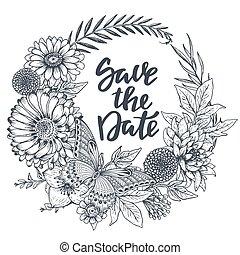 papillon, feuilles, main, fleurs, date, dessiné, sauver, carte
