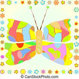 papillon, fleur, coloré, fond jaune, frontière
