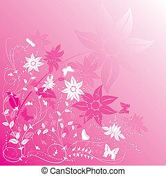papillon, fleur, fond