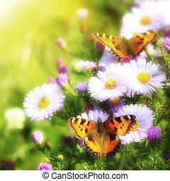 papillon, fleurs, deux