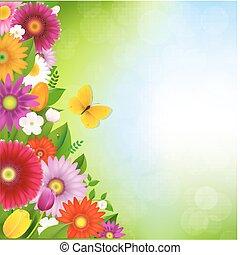 papillon, fleurs, frontière
