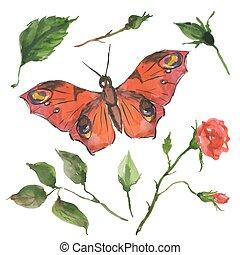 papillon, fleurs, rouges