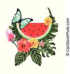 papillon, fleurs tropicales, pastèque, exotique