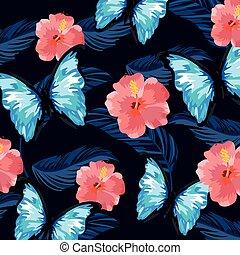 papillon, fleurs tropicales, usines, fond