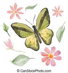 papillon, fleurs, vert