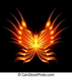 papillon, fliegendes, flügeln, feurig