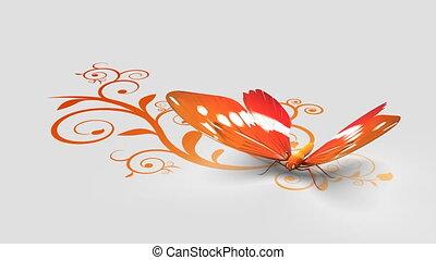 papillon, fond, orné