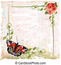 papillon, fond, vendange, roses, lierre, rouges