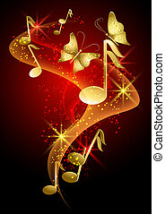 papillon, fumée, musical, étoiles, notes