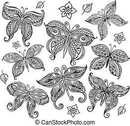 papillon, gekritzel, stil, satz