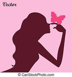 papillon, girl, silhouette, beauté