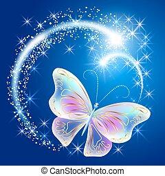 papillon, glühen, firework