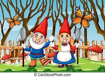 papillon, gnome, scène, champignon, rouges, jardin