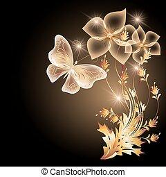 papillon, goldenes, fliegendes, verzierung, durchsichtig