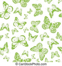 papillon, grüner hintergrund