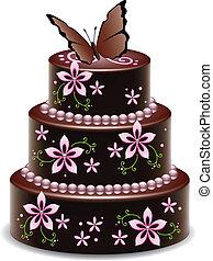 papillon, grand, chocolat, vecteur, gâteau, fleurs