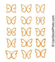 papillon, grand, ensemble, vecteur