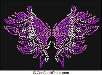 papillon, graphique, typon
