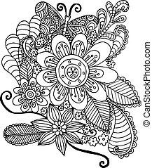 papillon, griffonnage, fleurs, vecteur