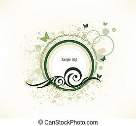 papillon, grunge, elements., illustration, vecteur, vert, floral