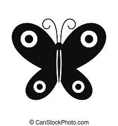 papillon, icône, style, noir, simple