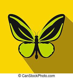 papillon, icône, style, plat