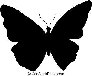 papillon, icon., silhouette