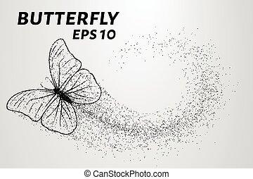 papillon, illustration, particles., porte, vecteur, morceau, vent, butterfly.
